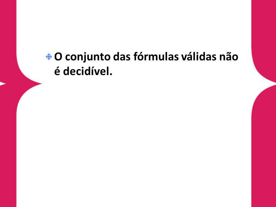 O conjunto das fórmulas válidas não é decidível.