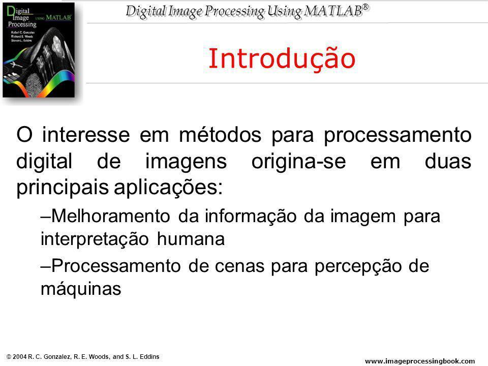 Introdução O interesse em métodos para processamento digital de imagens origina-se em duas principais aplicações: