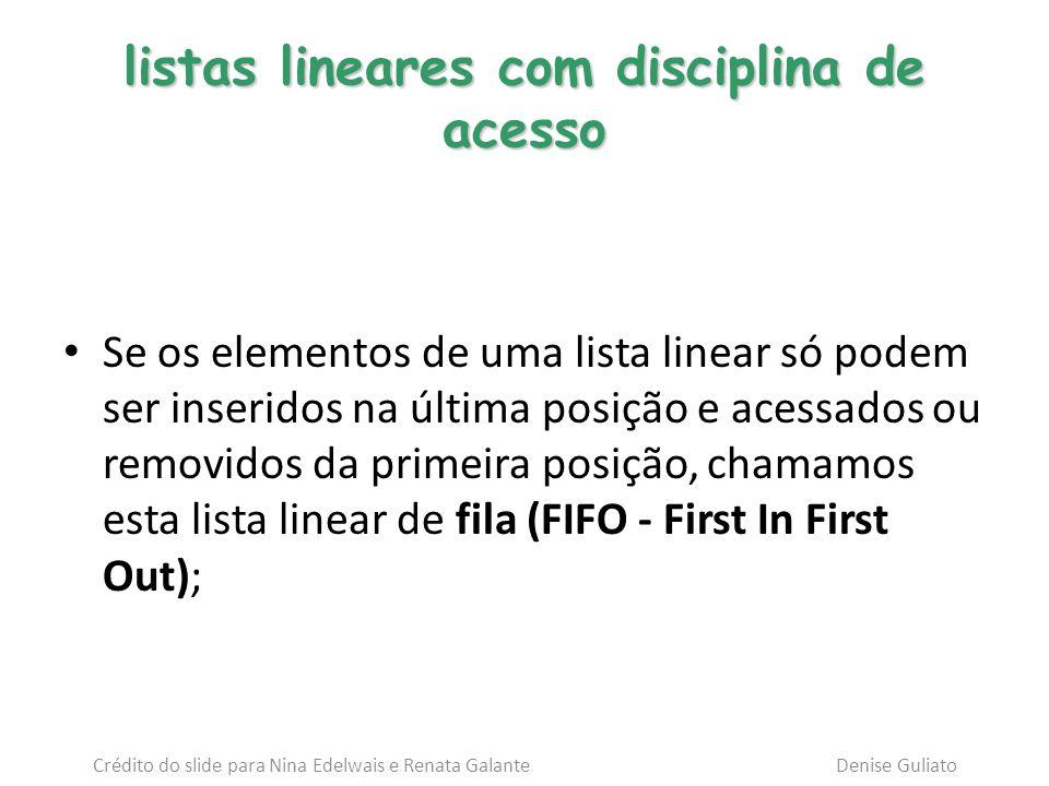 listas lineares com disciplina de acesso