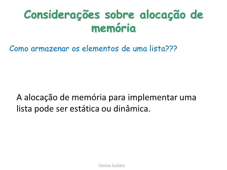 Considerações sobre alocação de memória