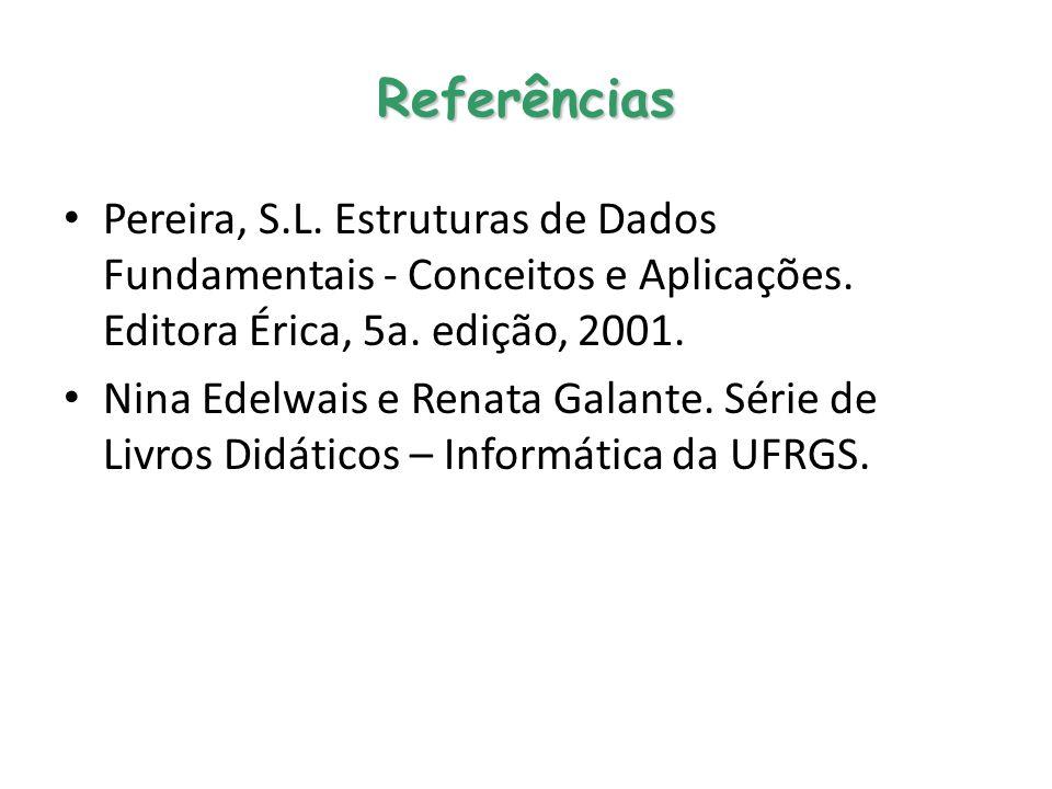 Referências Pereira, S.L. Estruturas de Dados Fundamentais - Conceitos e Aplicações. Editora Érica, 5a. edição, 2001.