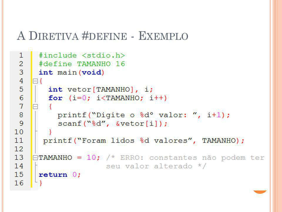 A Diretiva #define - Exemplo