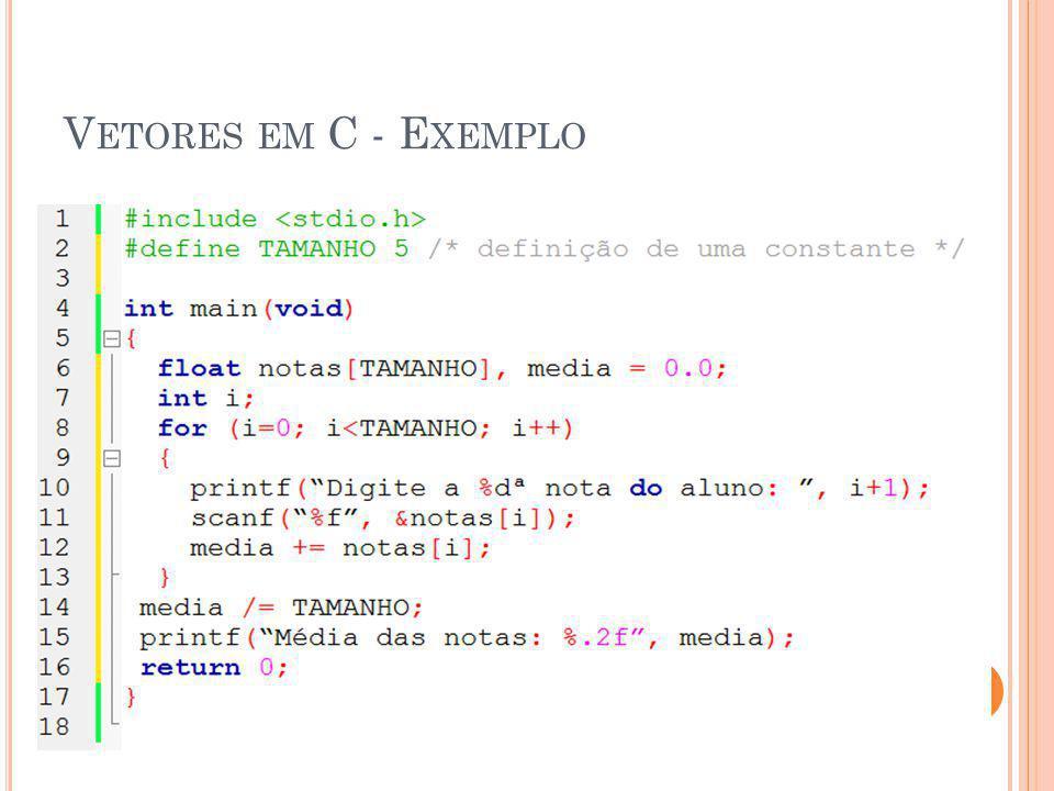 Vetores em C - Exemplo