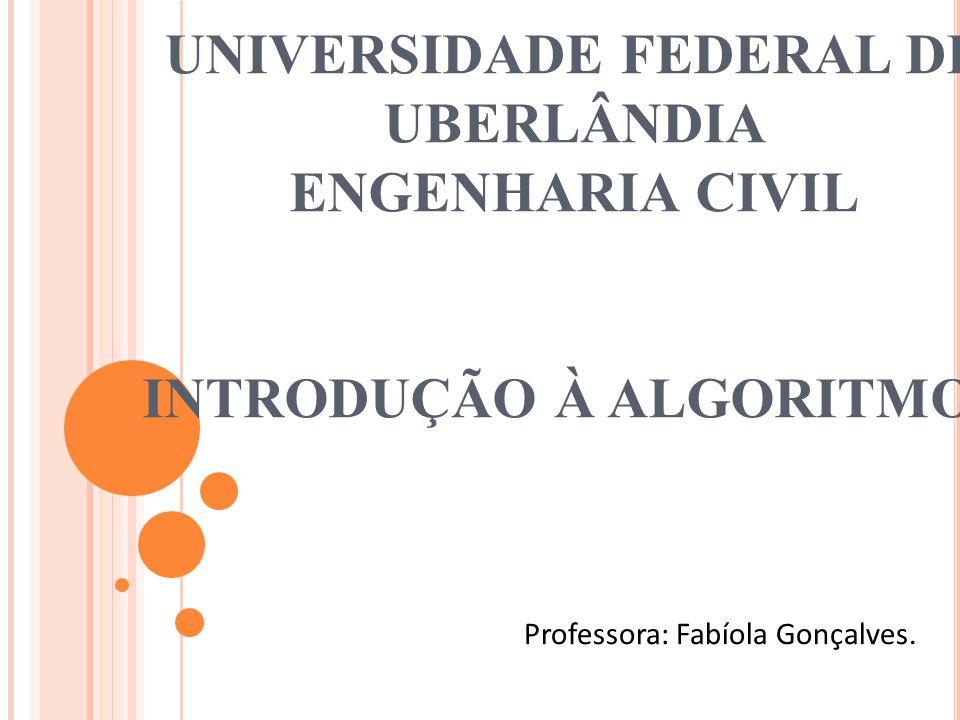 UNIVERSIDADE FEDERAL DE UBERLÂNDIA ENGENHARIA CIVIL INTRODUÇÃO À ALGORITMOS