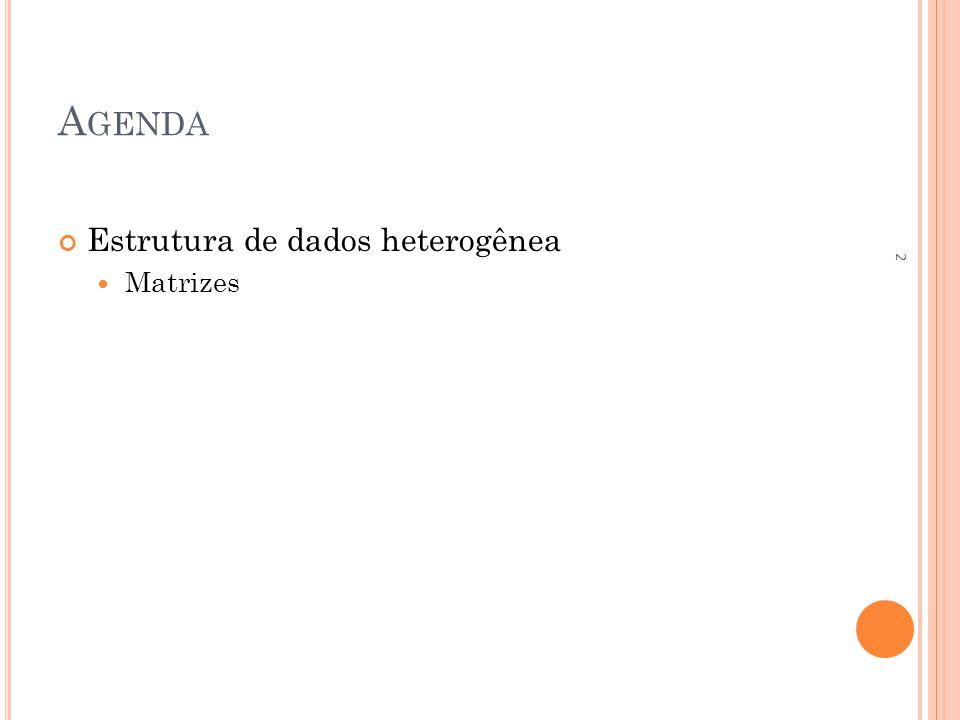 Agenda Estrutura de dados heterogênea Matrizes