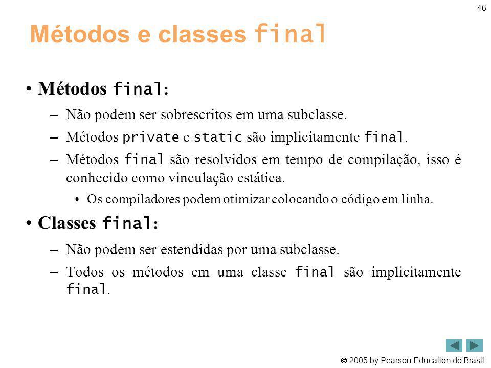 Métodos e classes final