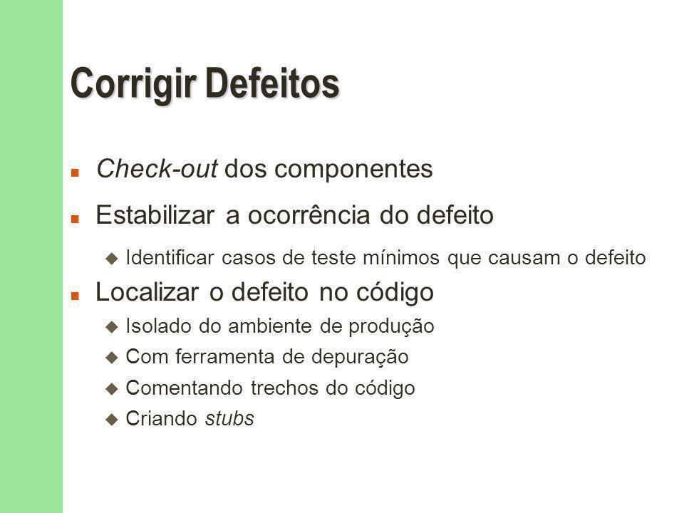 Corrigir Defeitos Check-out dos componentes