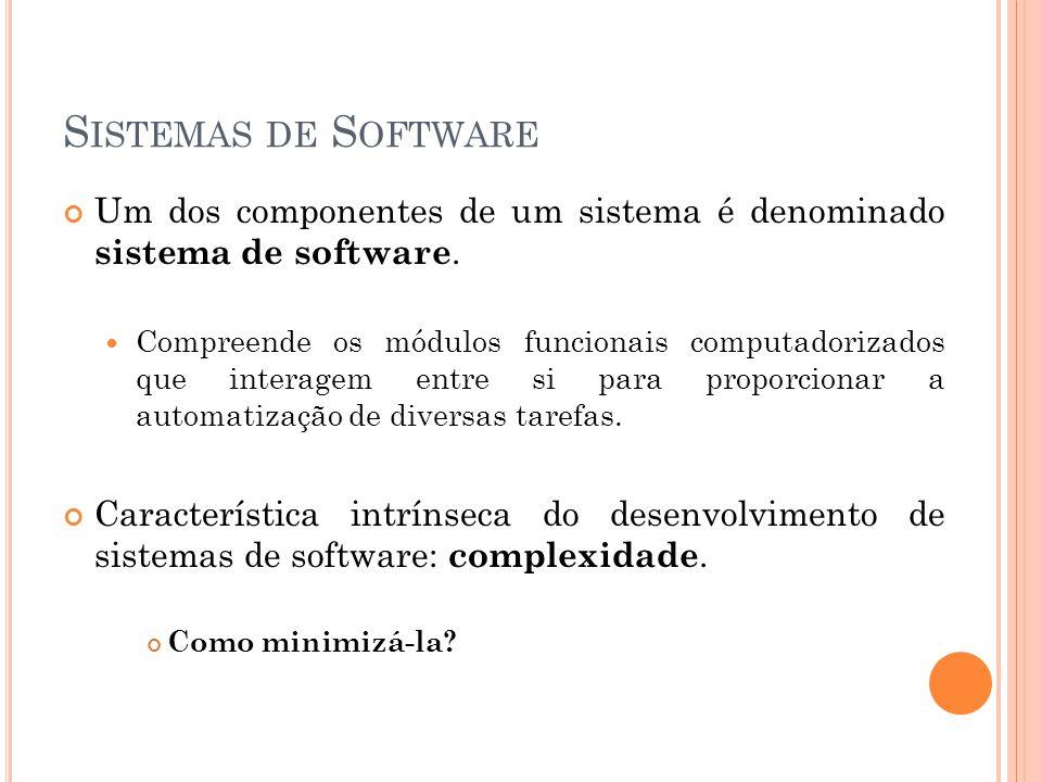 Sistemas de Software Um dos componentes de um sistema é denominado sistema de software.