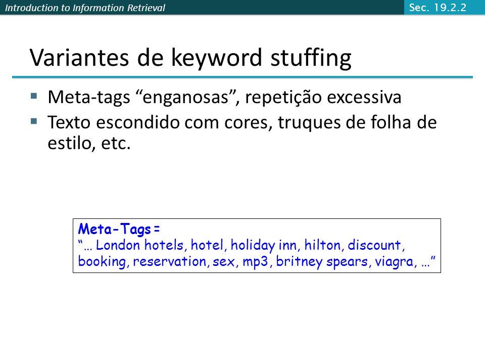 Variantes de keyword stuffing
