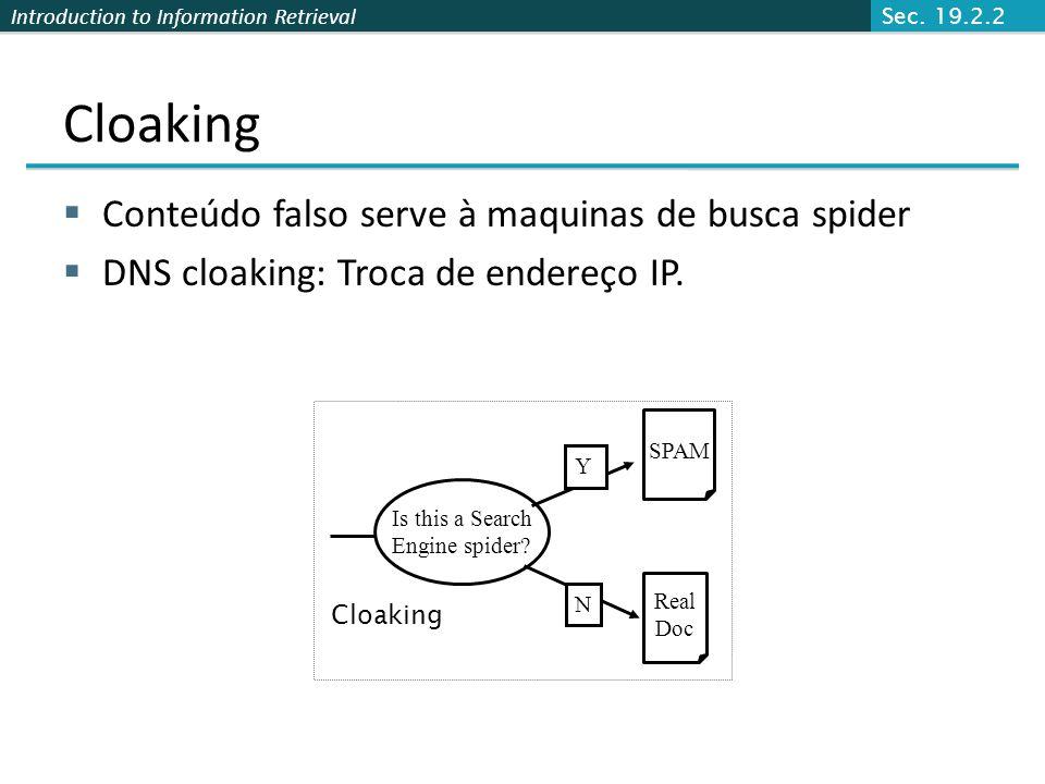 Cloaking Conteúdo falso serve à maquinas de busca spider