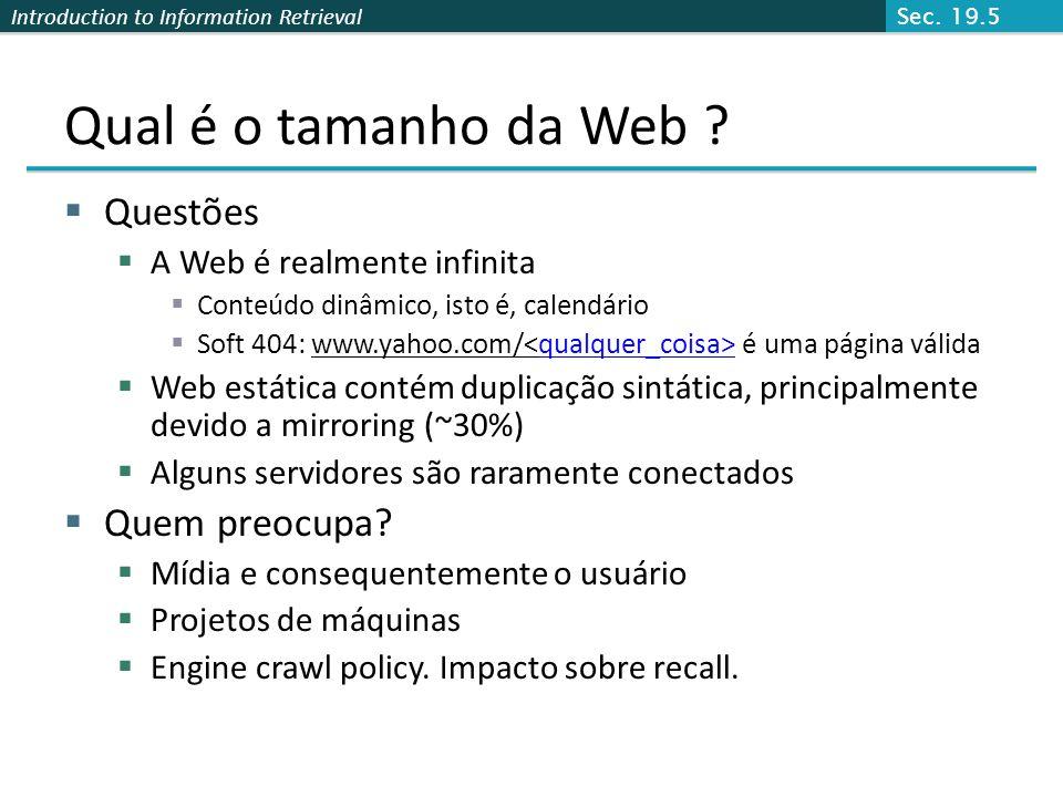 Qual é o tamanho da Web Questões Quem preocupa
