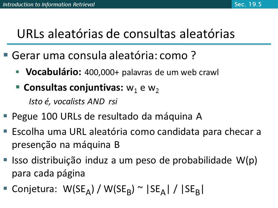 URLs aleatórias de consultas aleatórias