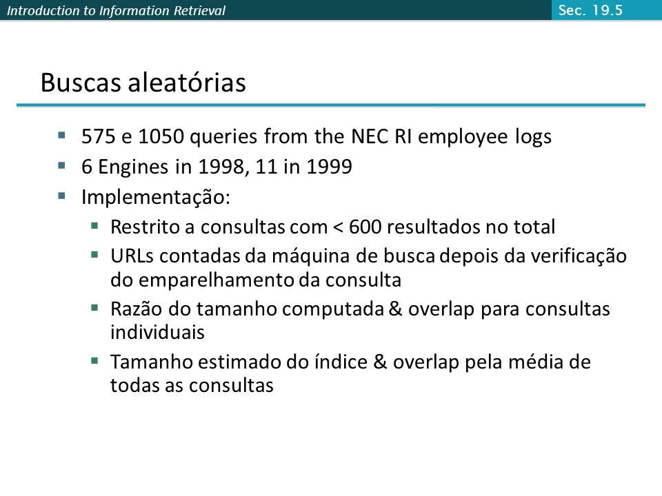 Buscas aleatórias 575 e 1050 queries from the NEC RI employee logs