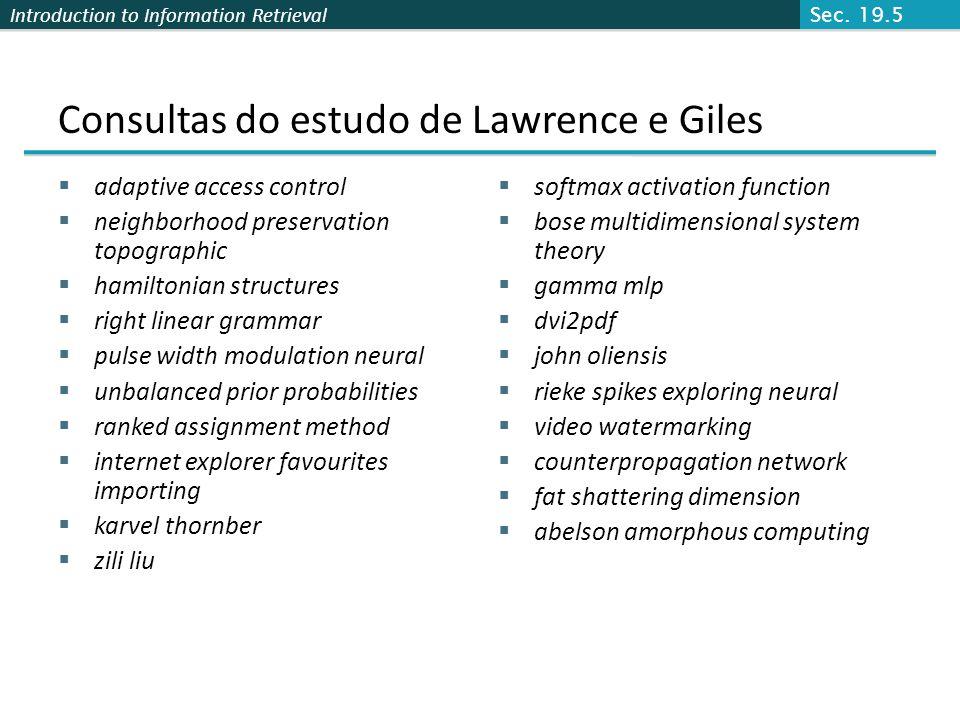 Consultas do estudo de Lawrence e Giles