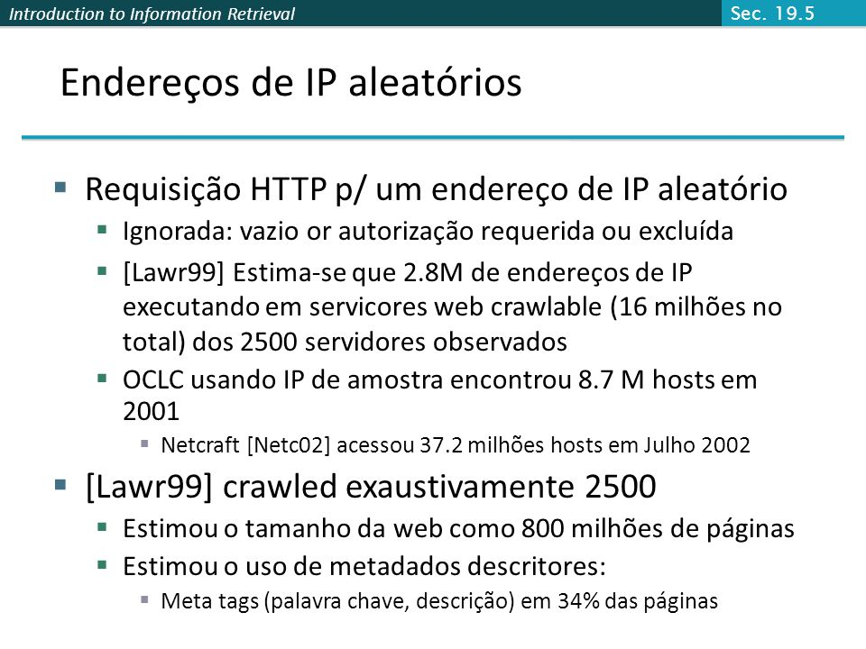 Endereços de IP aleatórios