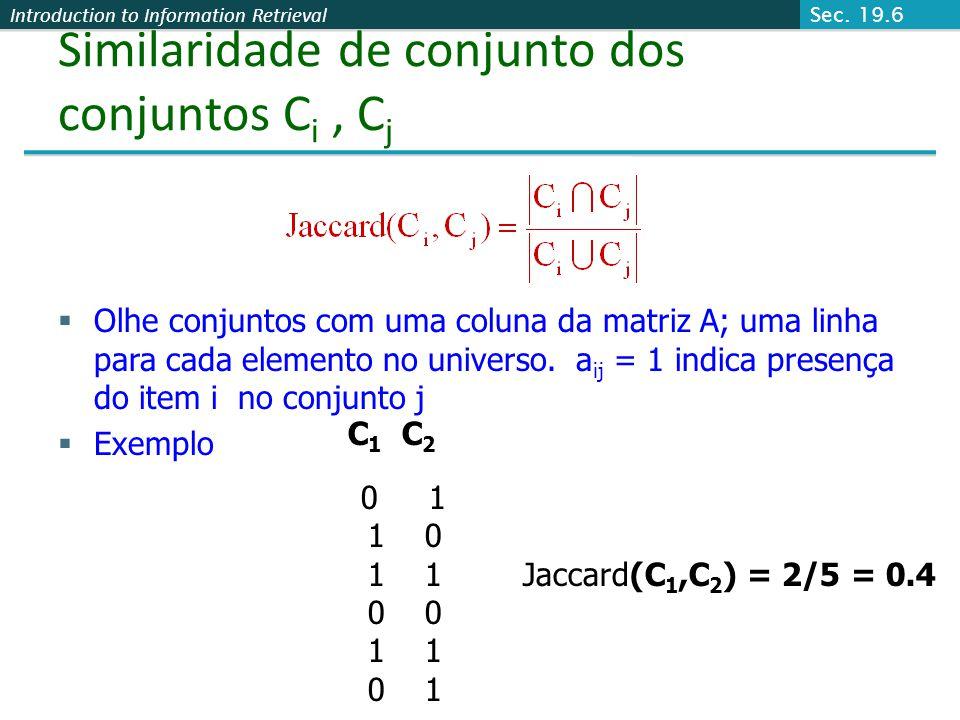 Similaridade de conjunto dos conjuntos Ci , Cj