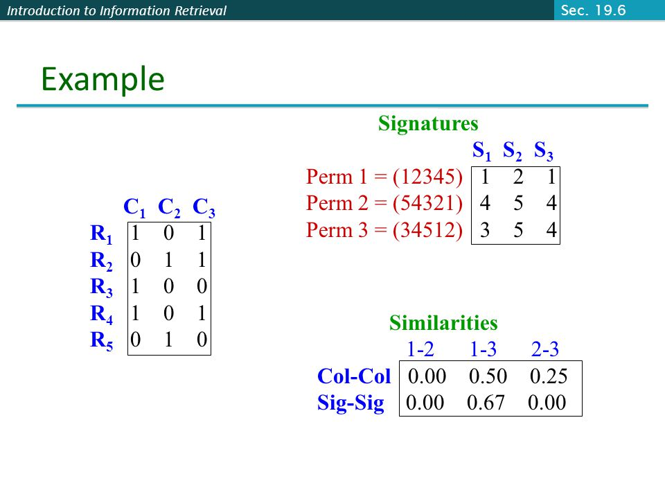 Example Signatures S1 S2 S3 Perm 1 = (12345) 1 2 1