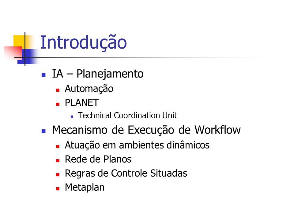 Introdução IA – Planejamento Mecanismo de Execução de Workflow