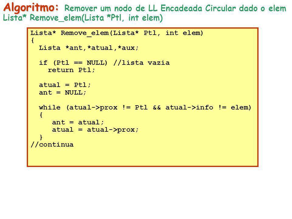 Algoritmo: Remover um nodo de LL Encadeada Circular dado o elem