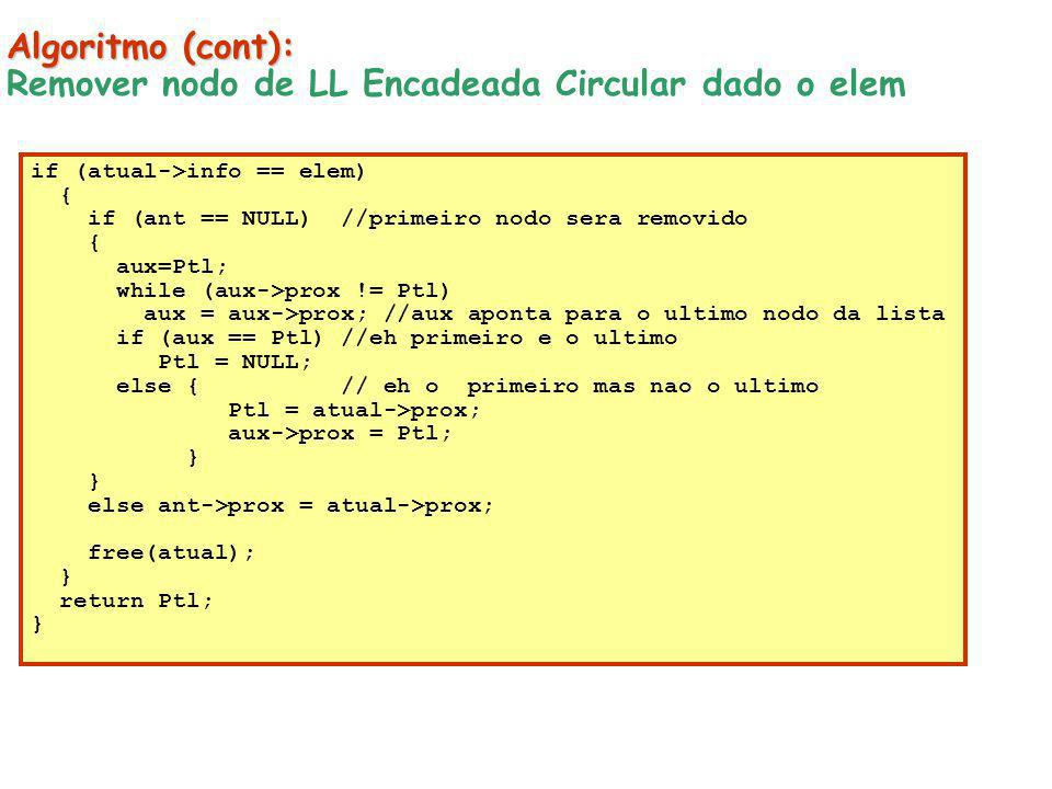 Remover nodo de LL Encadeada Circular dado o elem