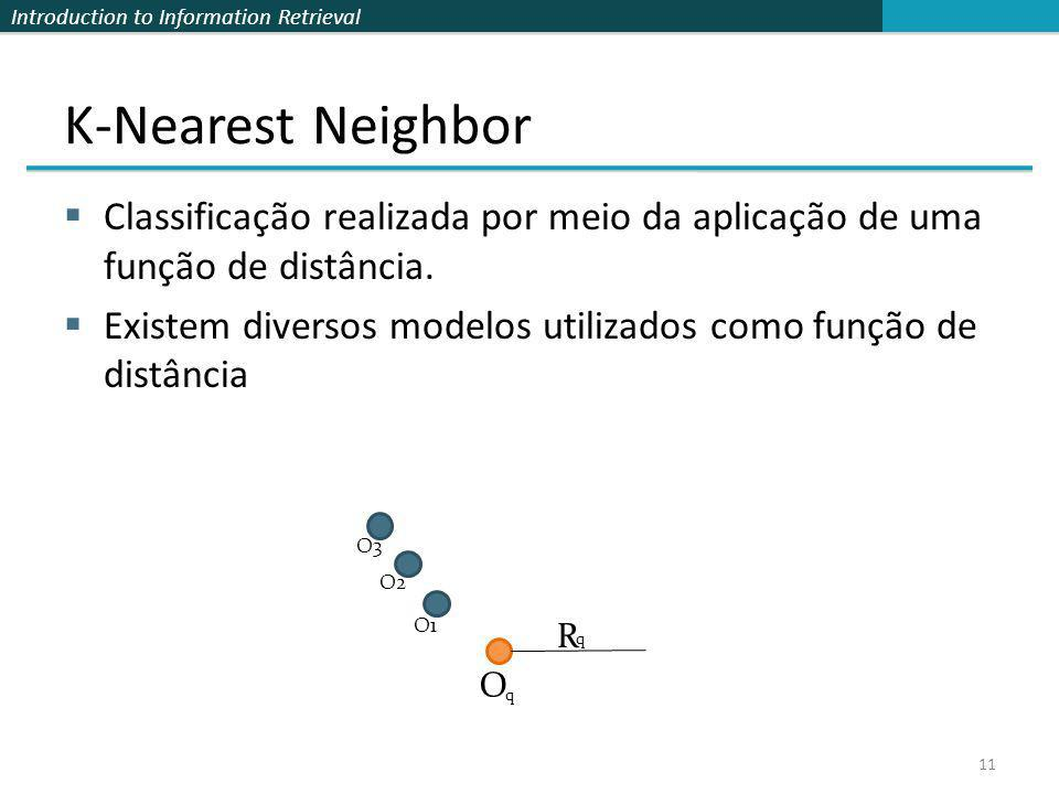 K-Nearest Neighbor Classificação realizada por meio da aplicação de uma função de distância.