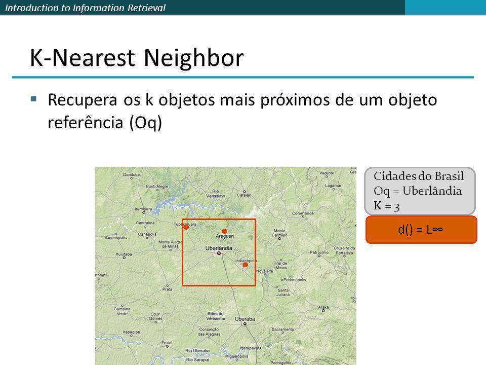 K-Nearest Neighbor Recupera os k objetos mais próximos de um objeto referência (Oq) Cidades do Brasil.