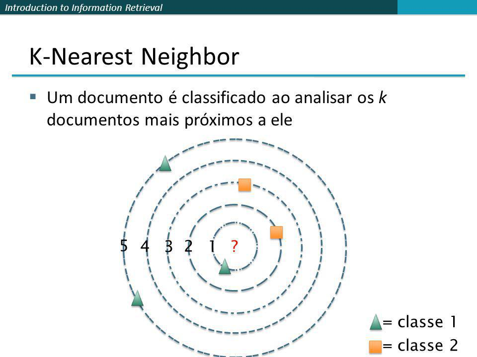 K-Nearest Neighbor Um documento é classificado ao analisar os k documentos mais próximos a ele. 5.