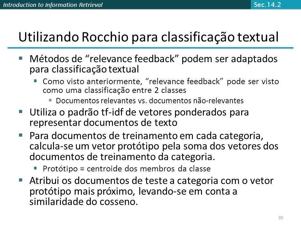 Utilizando Rocchio para classificação textual
