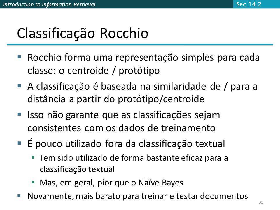 Classificação Rocchio