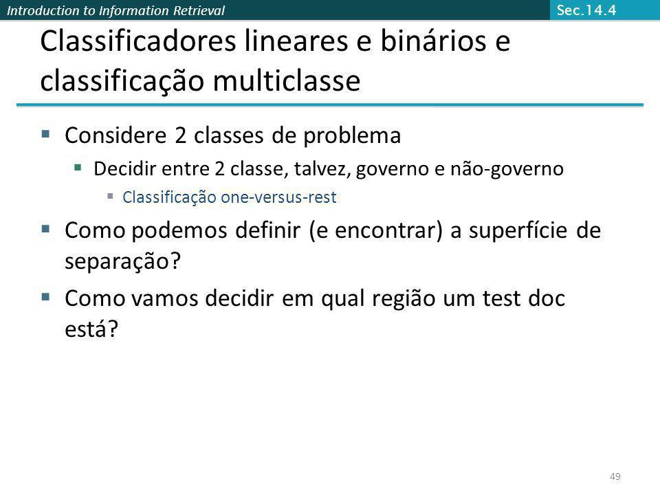 Classificadores lineares e binários e classificação multiclasse