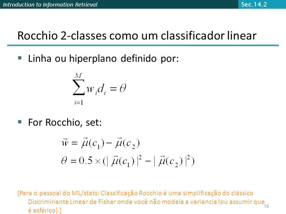 Rocchio 2-classes como um classificador linear