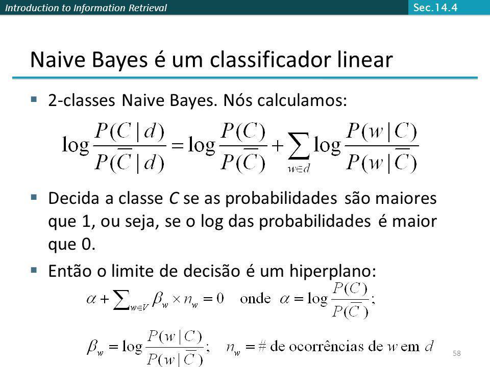 Naive Bayes é um classificador linear