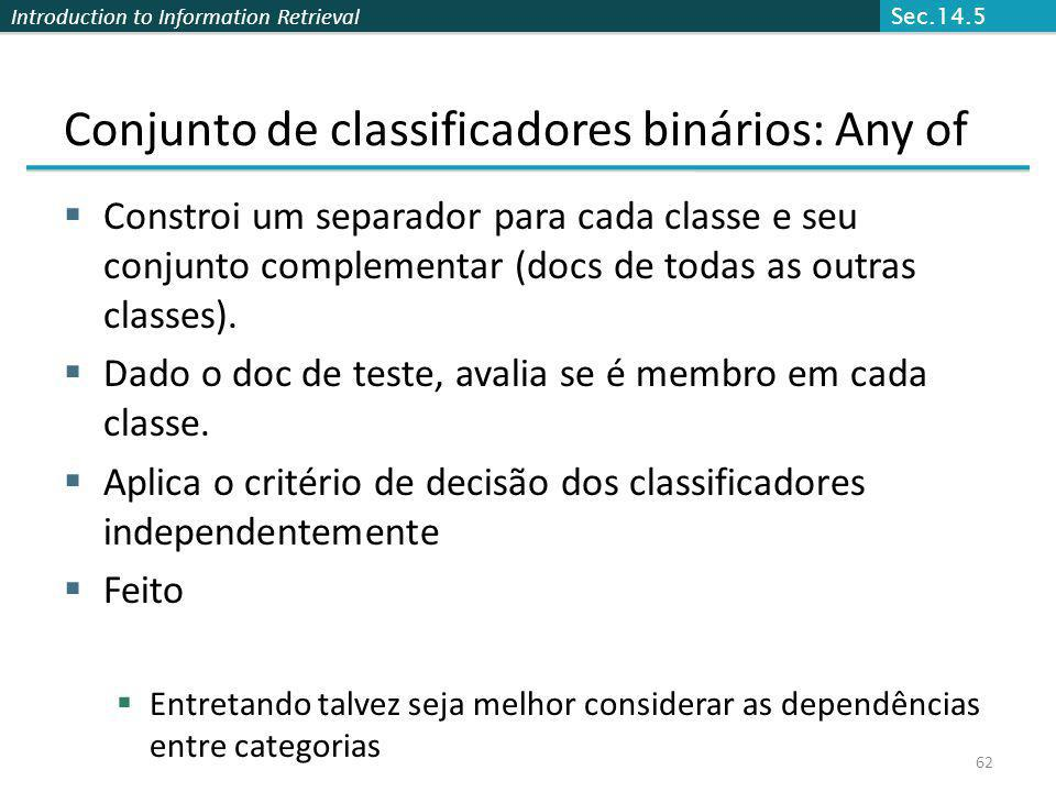 Conjunto de classificadores binários: Any of