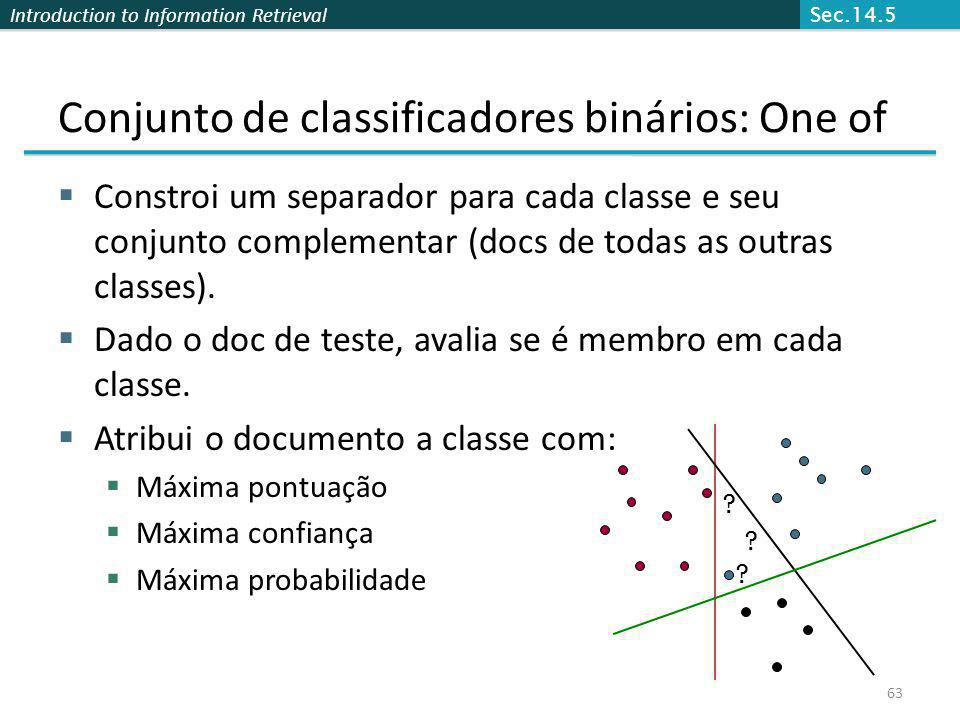 Conjunto de classificadores binários: One of