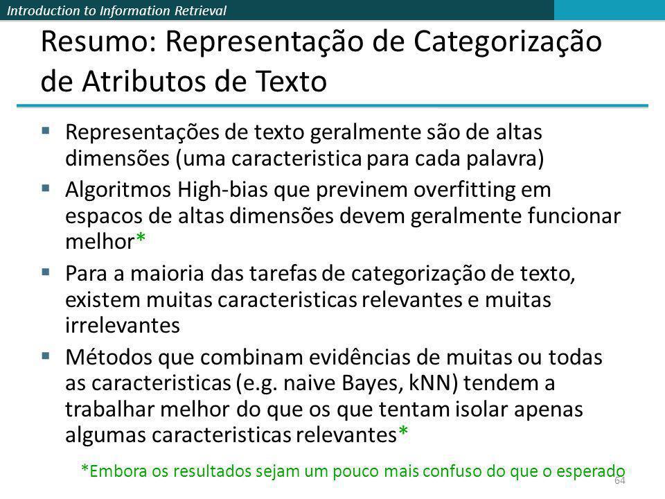 Resumo: Representação de Categorização de Atributos de Texto