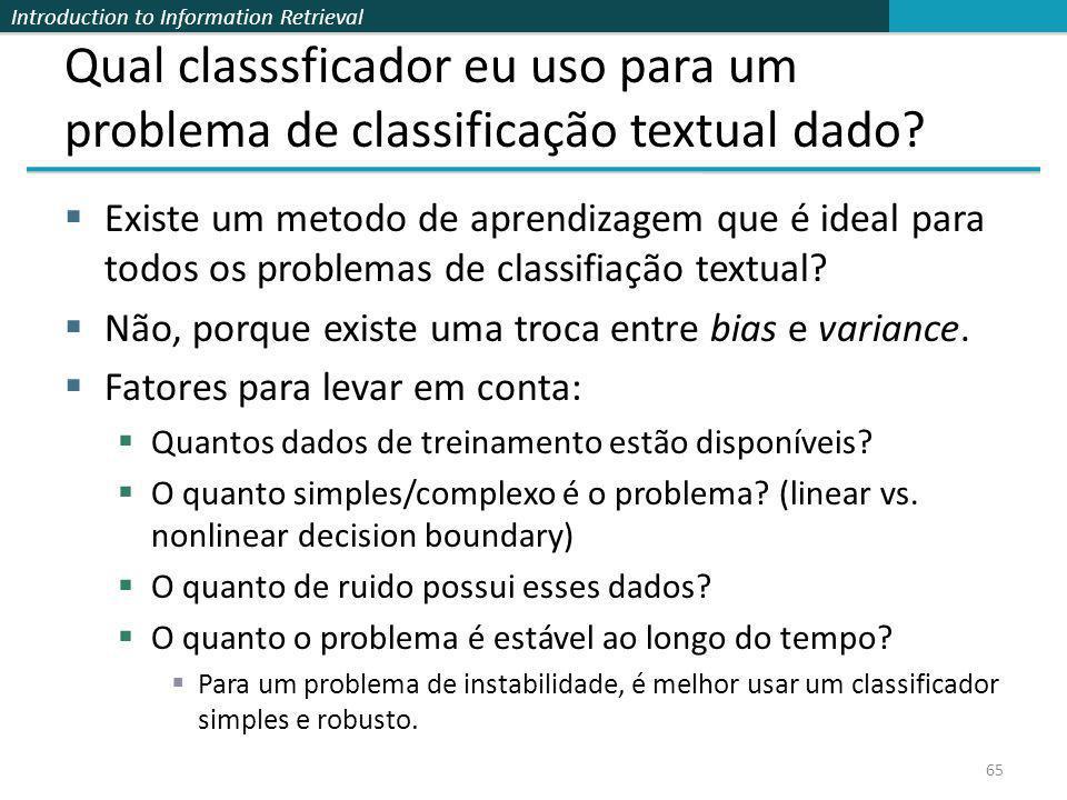 Qual classsficador eu uso para um problema de classificação textual dado