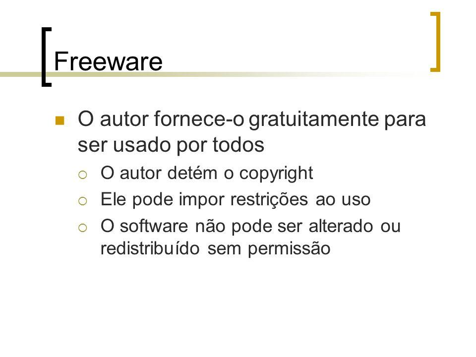 Freeware O autor fornece-o gratuitamente para ser usado por todos