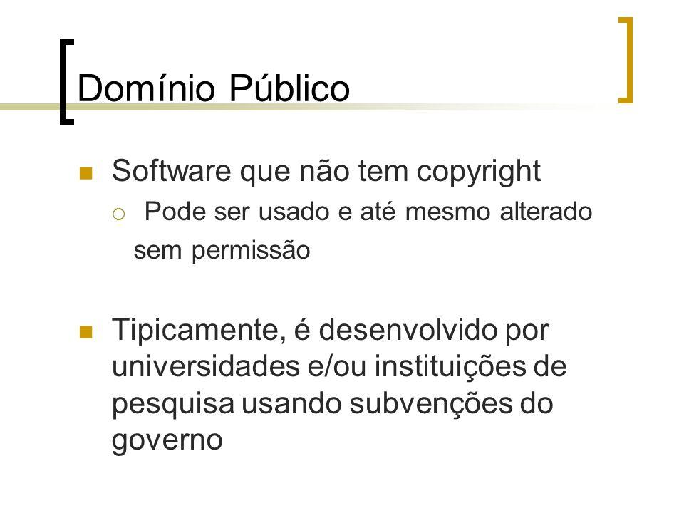 Domínio Público Software que não tem copyright