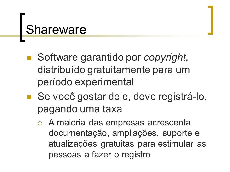 Shareware Software garantido por copyright, distribuído gratuitamente para um período experimental.