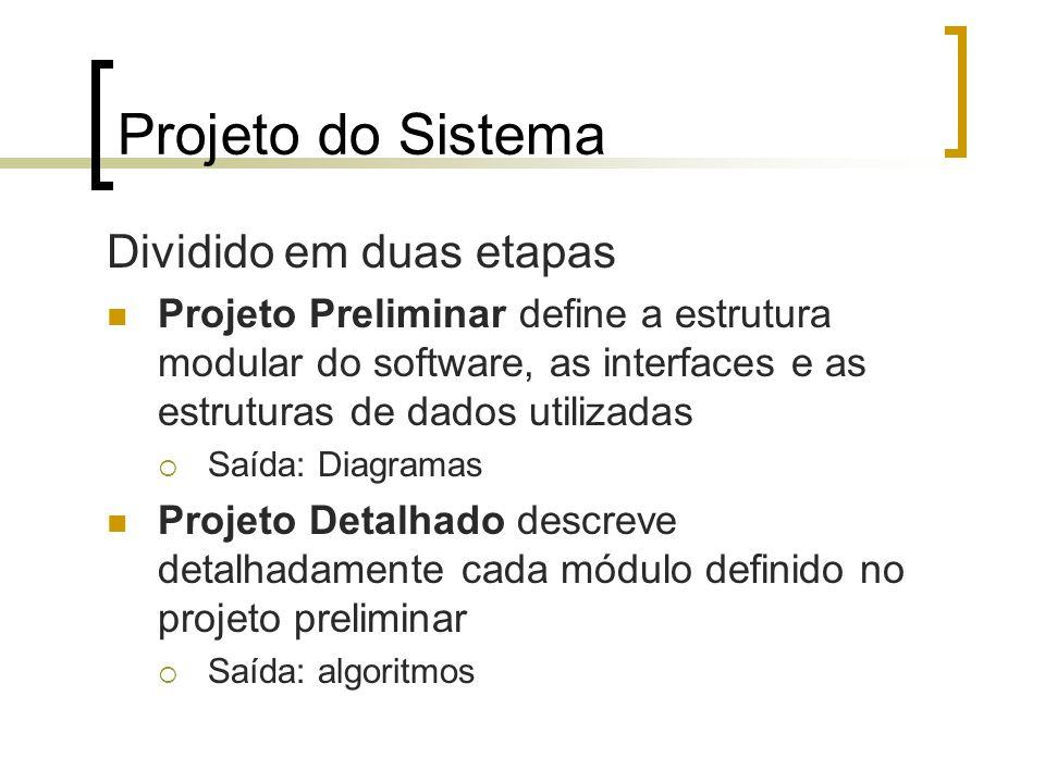 Projeto do Sistema Dividido em duas etapas