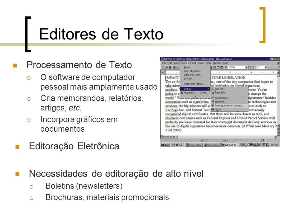 Editores de Texto Processamento de Texto Editoração Eletrônica