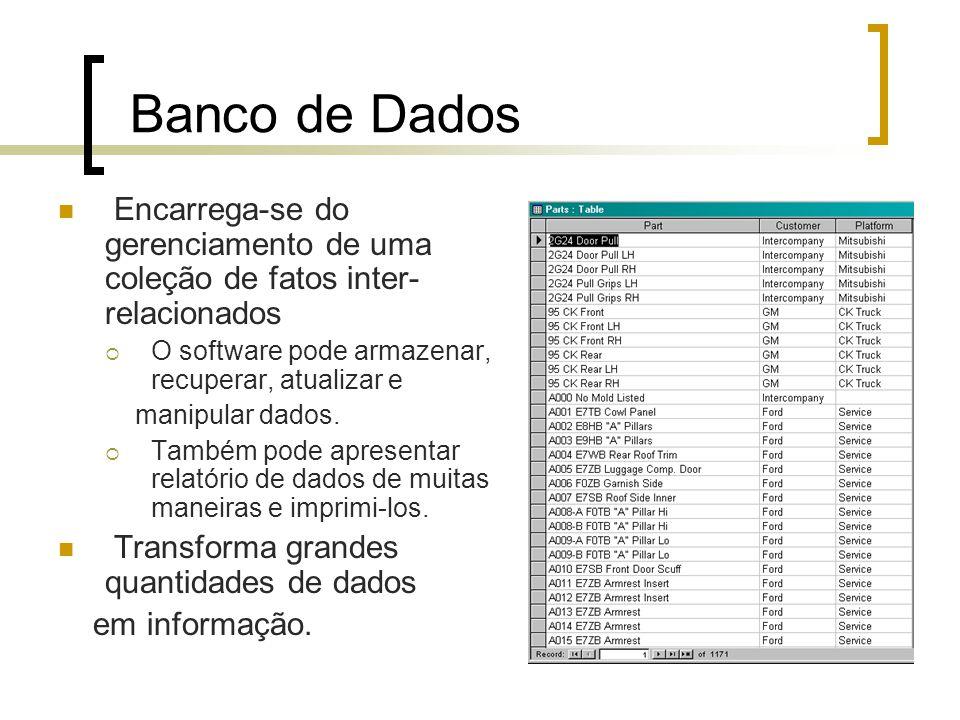 Banco de Dados Encarrega-se do gerenciamento de uma coleção de fatos inter-relacionados. O software pode armazenar, recuperar, atualizar e.