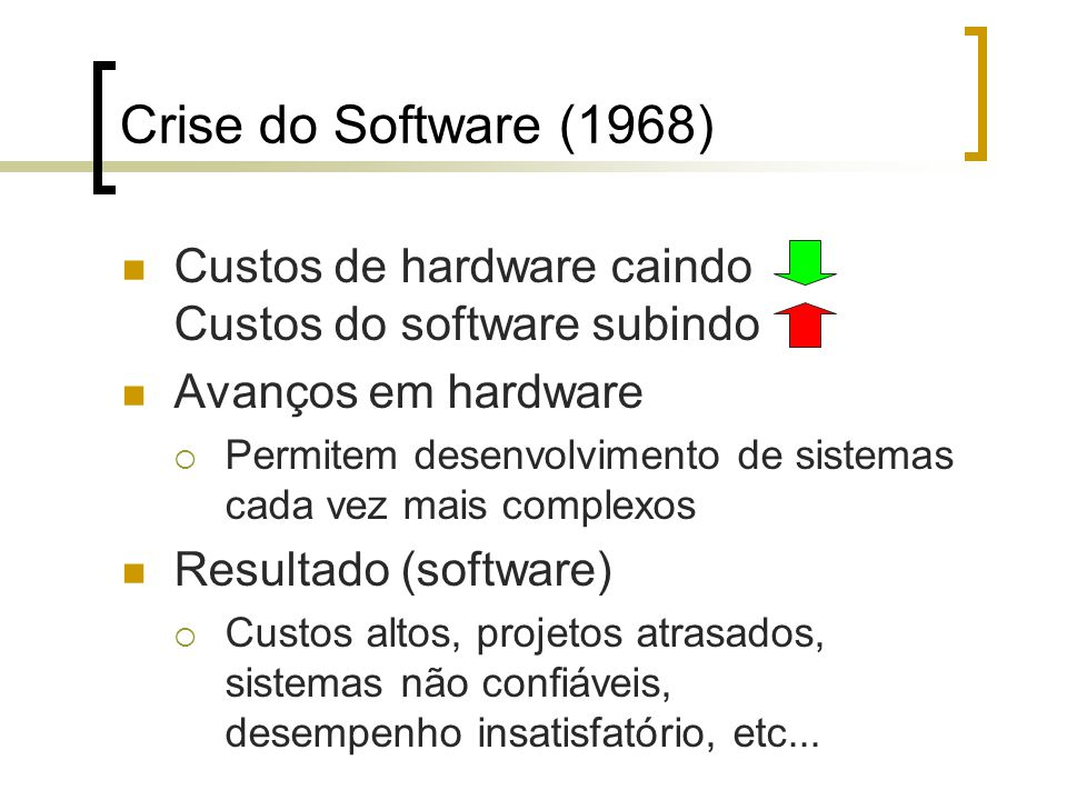 Crise do Software (1968) Custos de hardware caindo Custos do software subindo. Avanços em hardware.