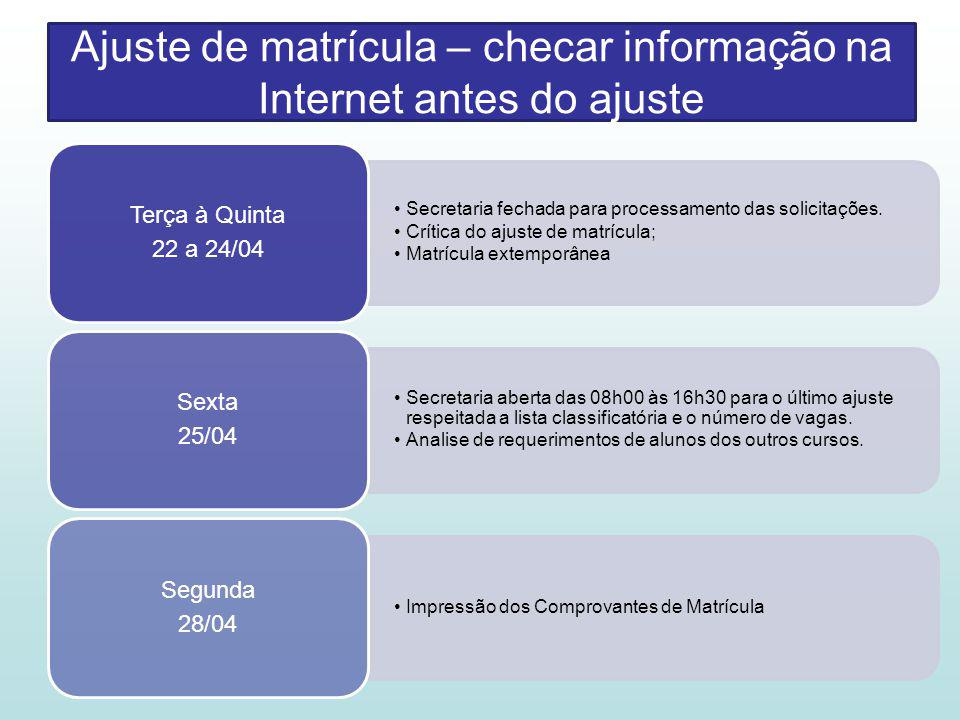 Ajuste de matrícula – checar informação na Internet antes do ajuste