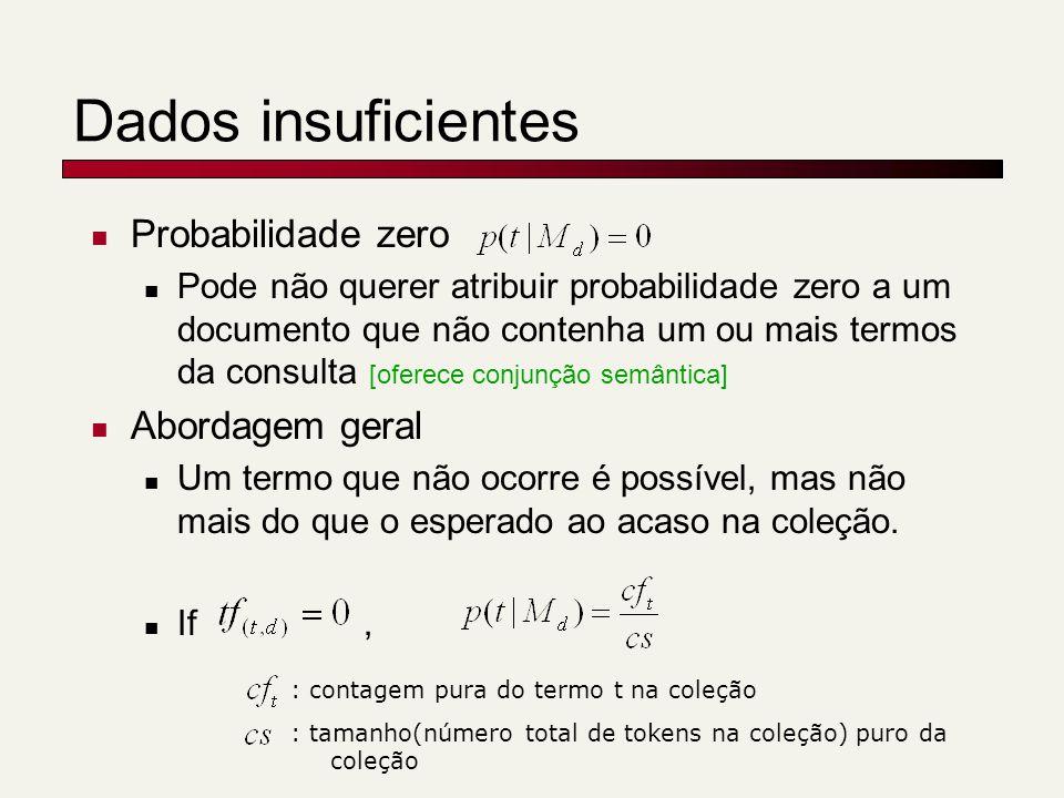 Dados insuficientes Probabilidade zero Abordagem geral
