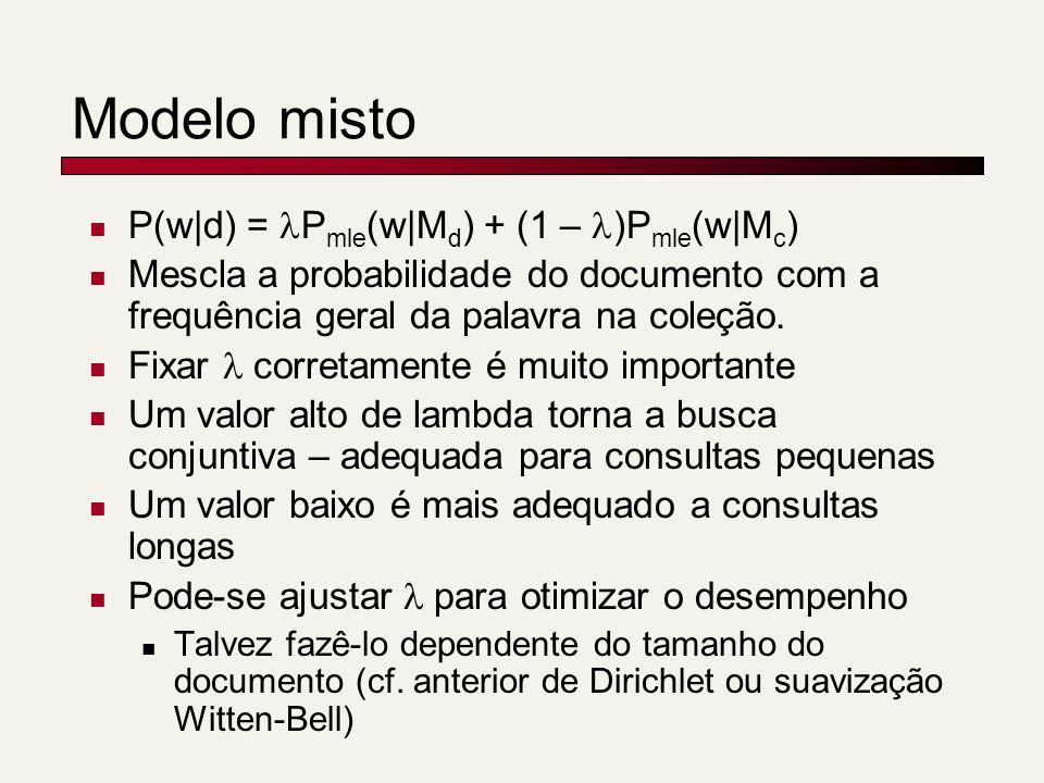Modelo misto P(w|d) = Pmle(w|Md) + (1 – )Pmle(w|Mc)