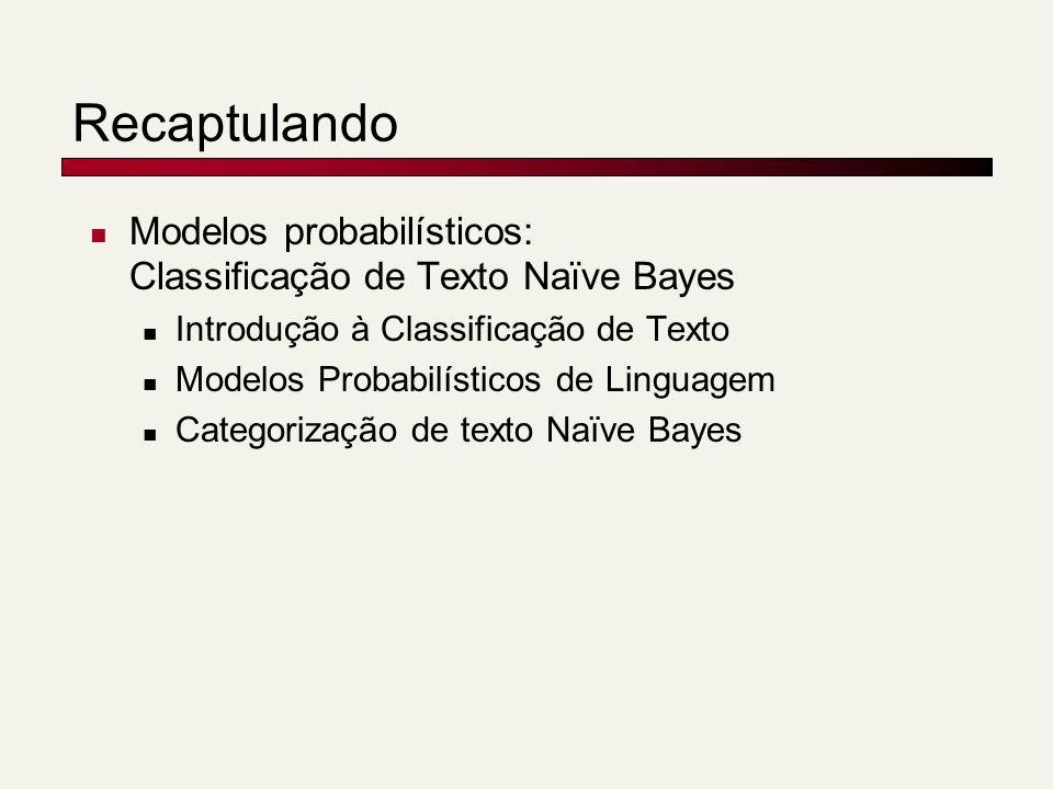 Recaptulando Modelos probabilísticos: Classificação de Texto Naïve Bayes. Introdução à Classificação de Texto.