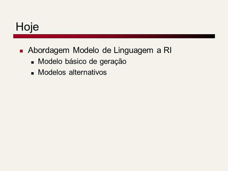 Hoje Abordagem Modelo de Linguagem a RI Modelo básico de geração