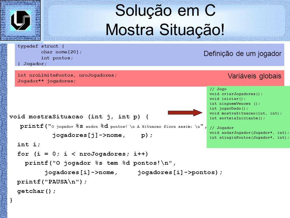 Solução em C Mostra Situação!