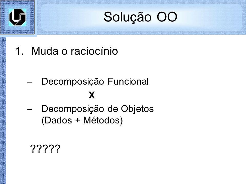 Solução OO Muda o raciocínio Decomposição Funcional X